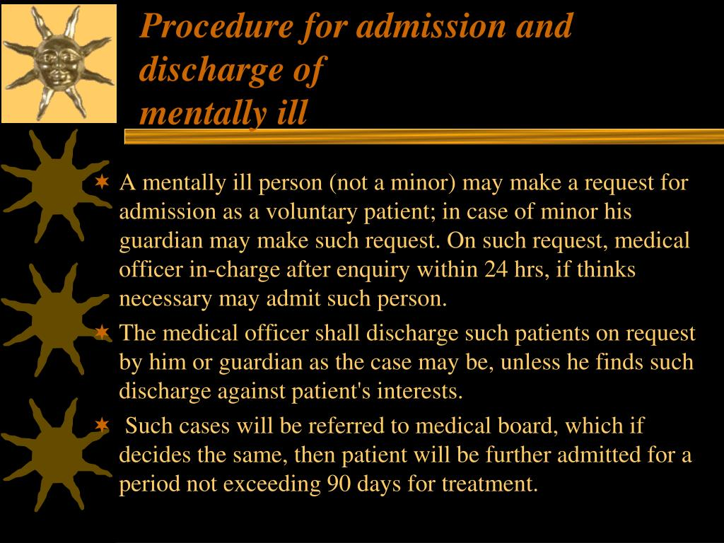 Procedure for admission and discharge of