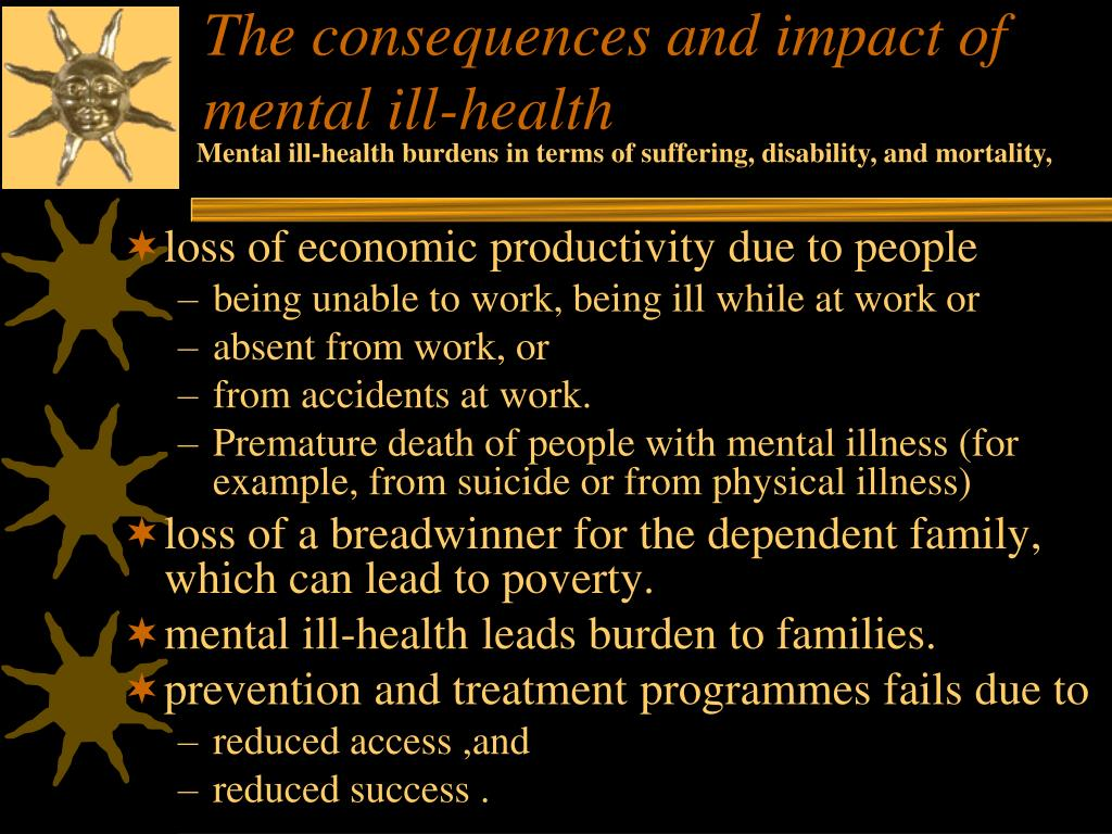 The consequences and impact of mental ill-health
