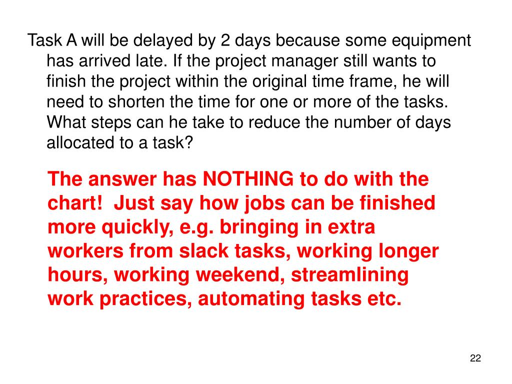 Task A will be delayed by 2 days because some equipment has arrived late. If the project manager still wants to finish the project within the original time frame, he will need to shorten the time for one or more of the tasks. What steps can he take to reduce the number of days allocated to a task?