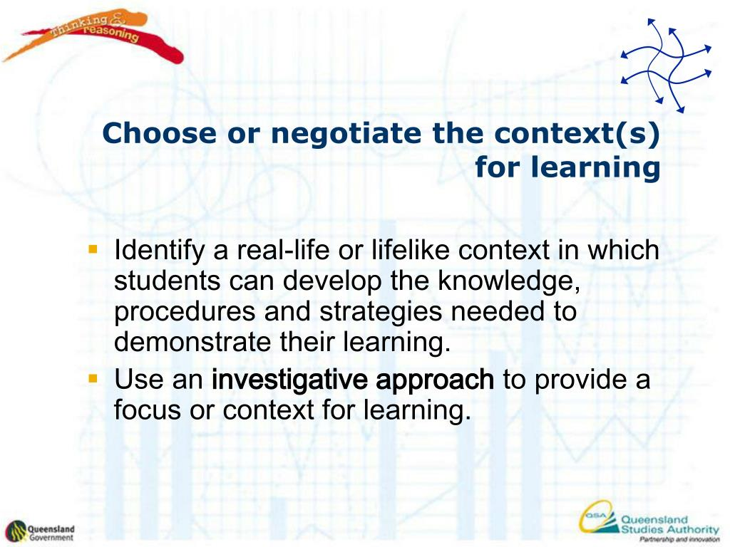 Choose or negotiate the context(s) for learning