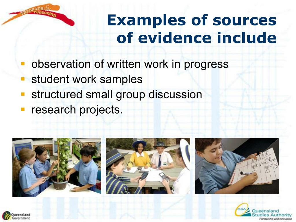 Examples of sources of evidence