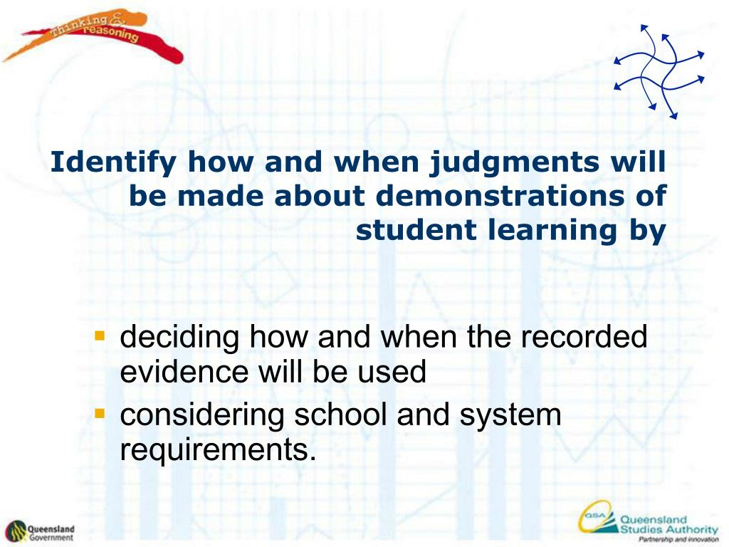 Identify how and when judgments will be made about demonstrations of student learning