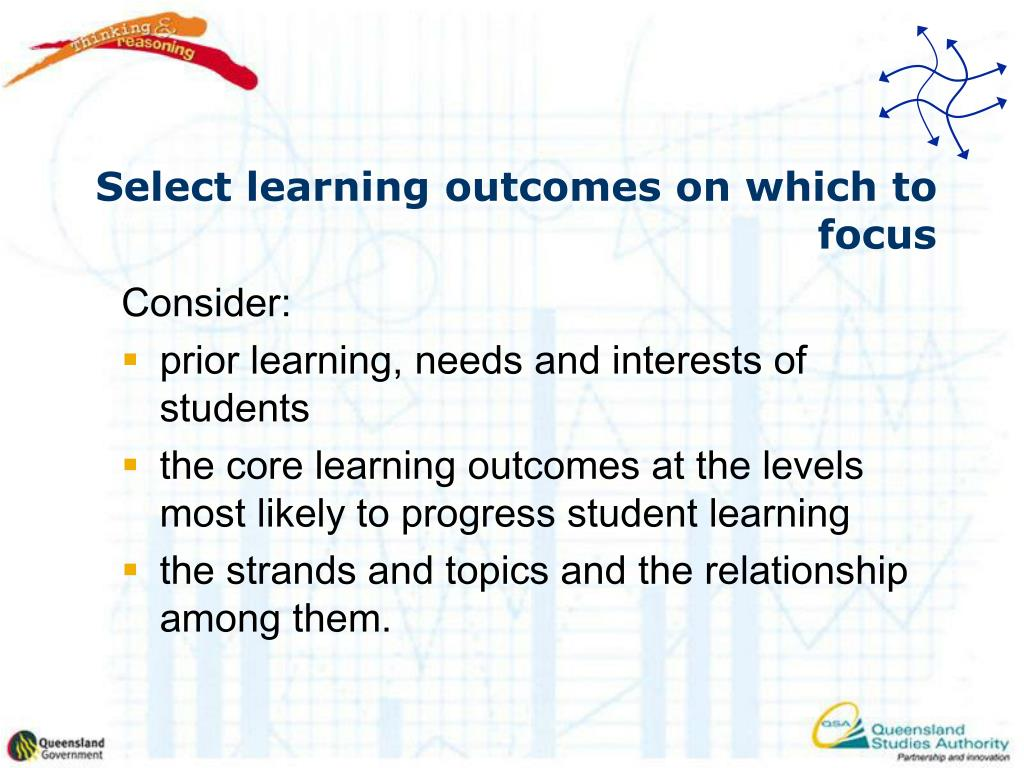 Select learning outcomes on which to focus