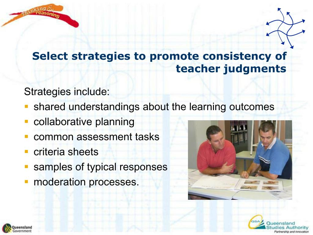 Select strategies to promote consistency of teacher judgments