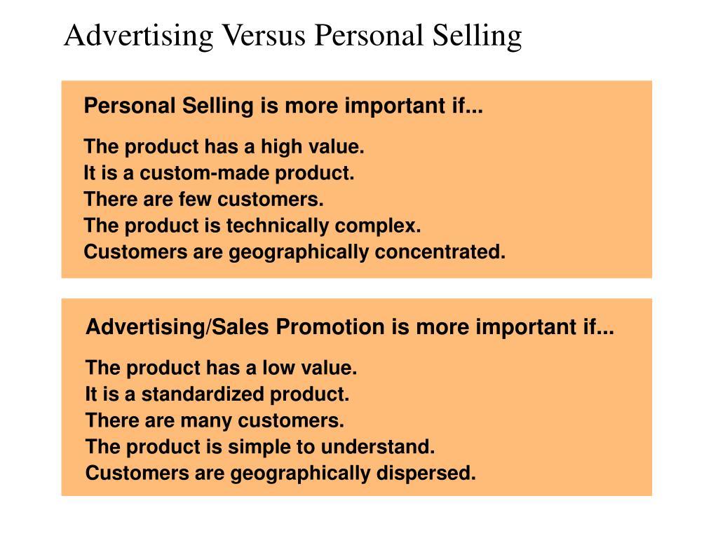 Advertising Versus Personal Selling