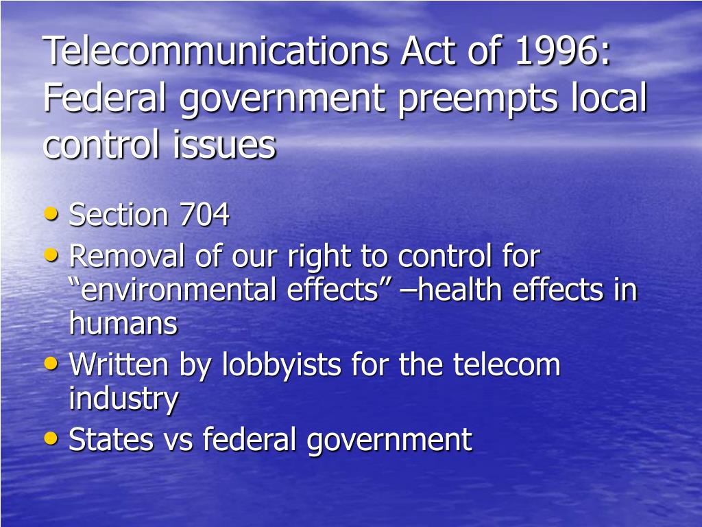 an overview of the telecommunications act of 1996 Summary of federal laws miscellaneous laws that might apply compliance partners : communications act of 1934 (amended by the telecommunications act of 1996.