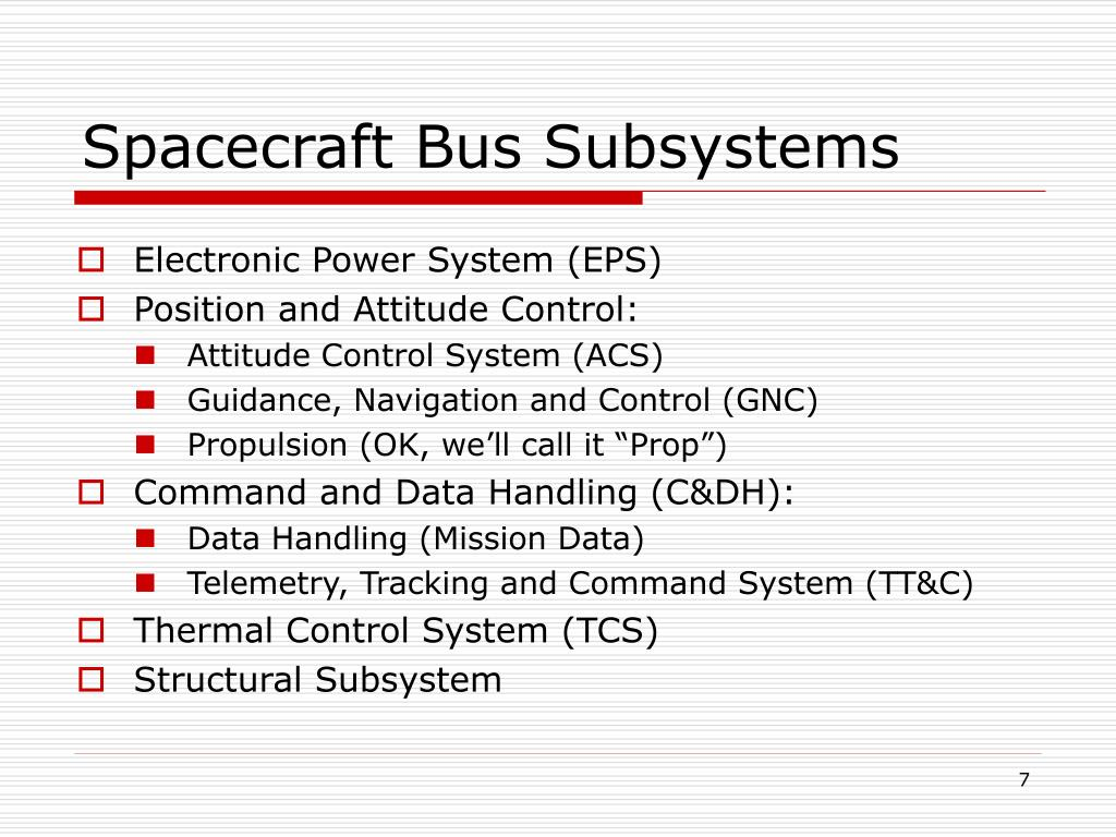 Spacecraft Bus Subsystems