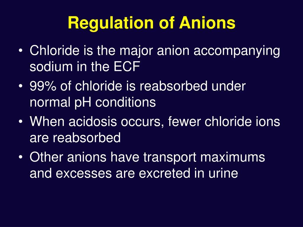 Regulation of Anions