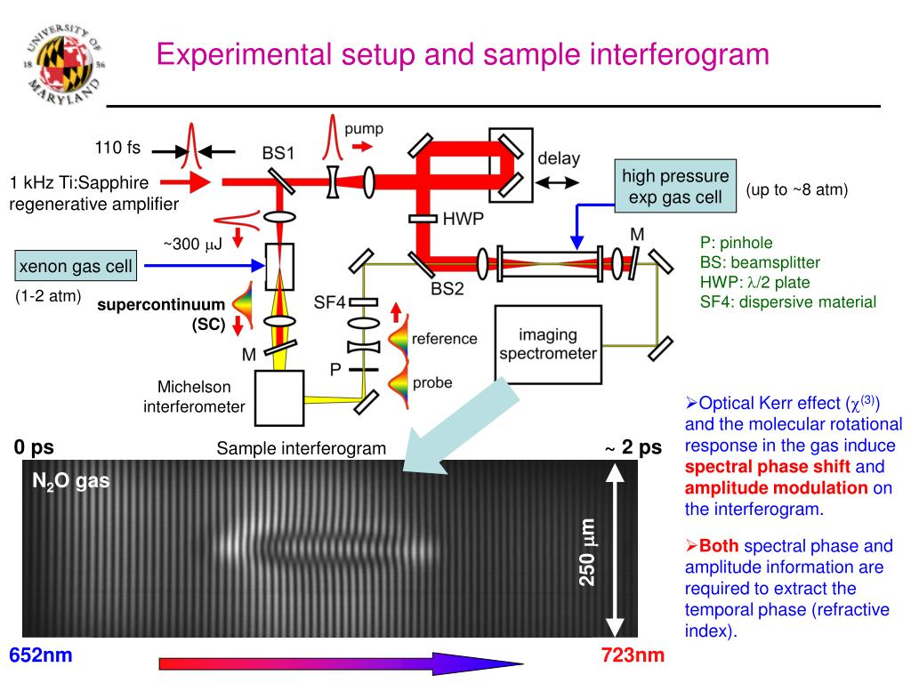Experimental setup and sample interferogram