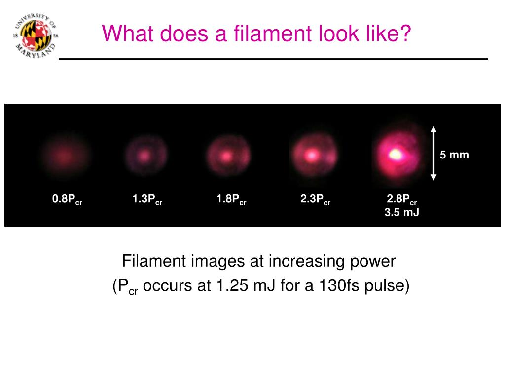 Filament images at increasing power