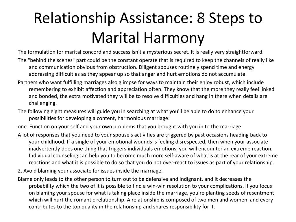 relationship assistance 8 steps to marital harmony