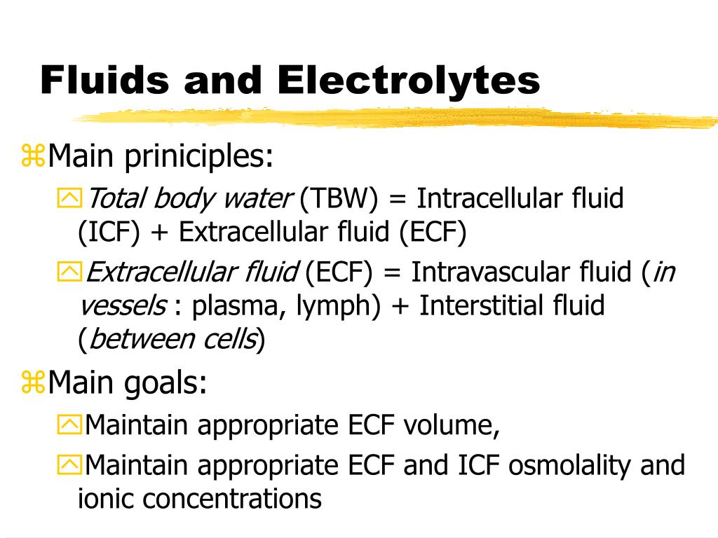 fluids and electrolytes Electrolytes: a review and refresher caleb a rogovin, crna composition of body fluids multiple fluid, electrolyte and acid/base.