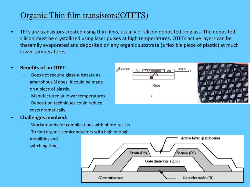 Organic Thin film transistors(OTFTS)