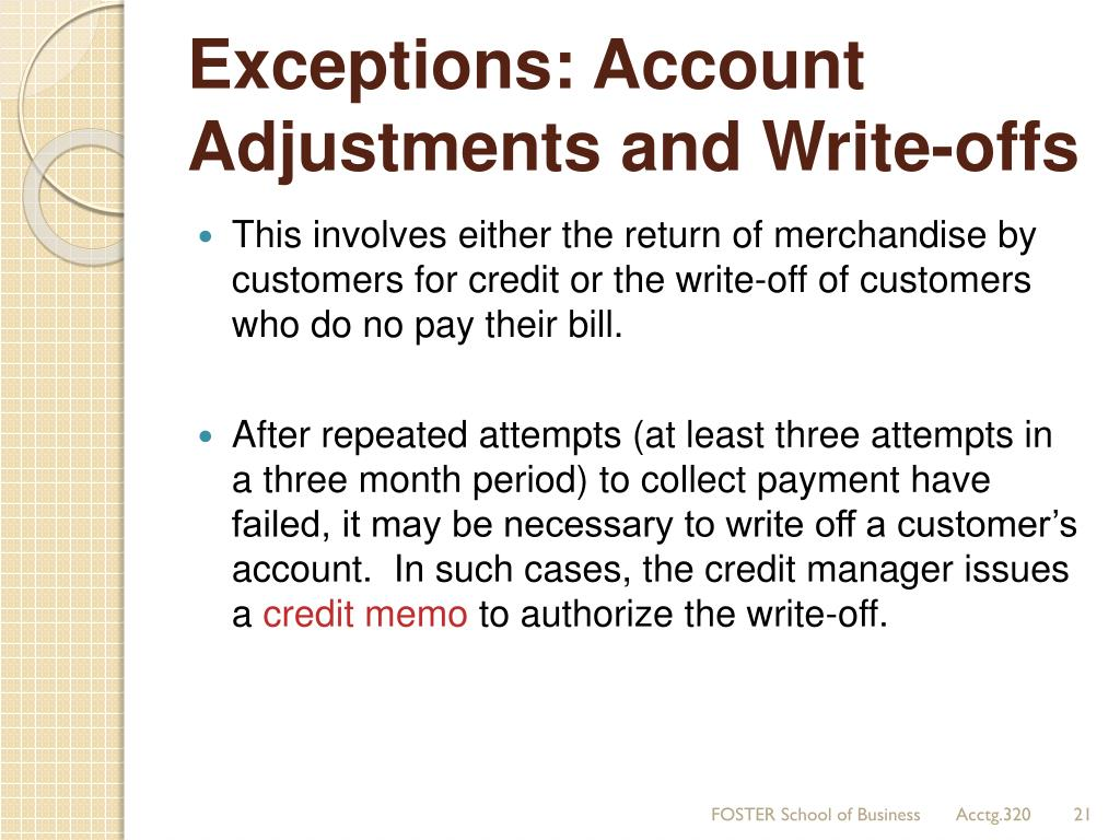 write offs A business that extends credit to its customers may find that some of its invoices are paid late, or in some cases not at all collecting bad debt is a critical part.