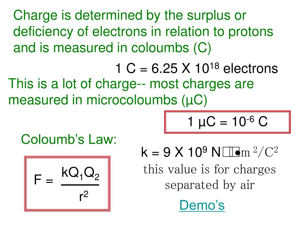 Charge is determined by the surplus or deficiency of electrons in relation to protons and is measured in coloumbs (C)
