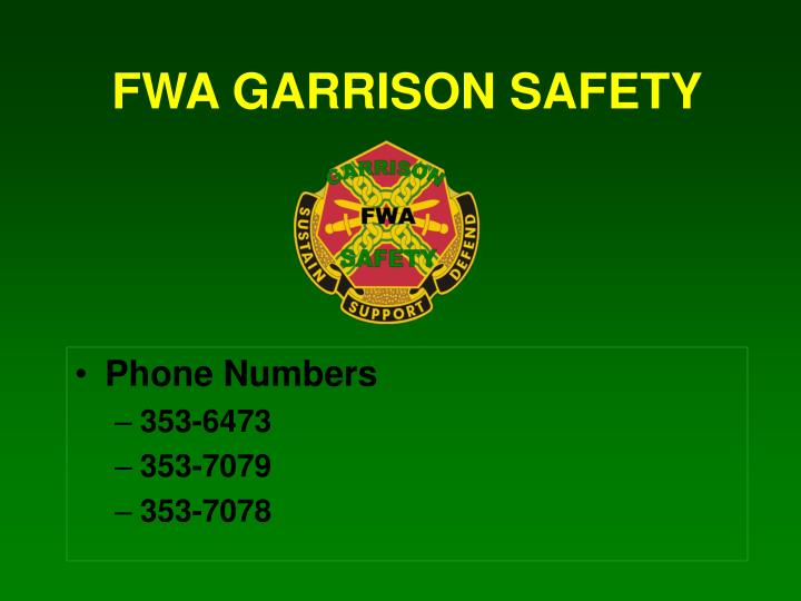 FWA GARRISON SAFETY