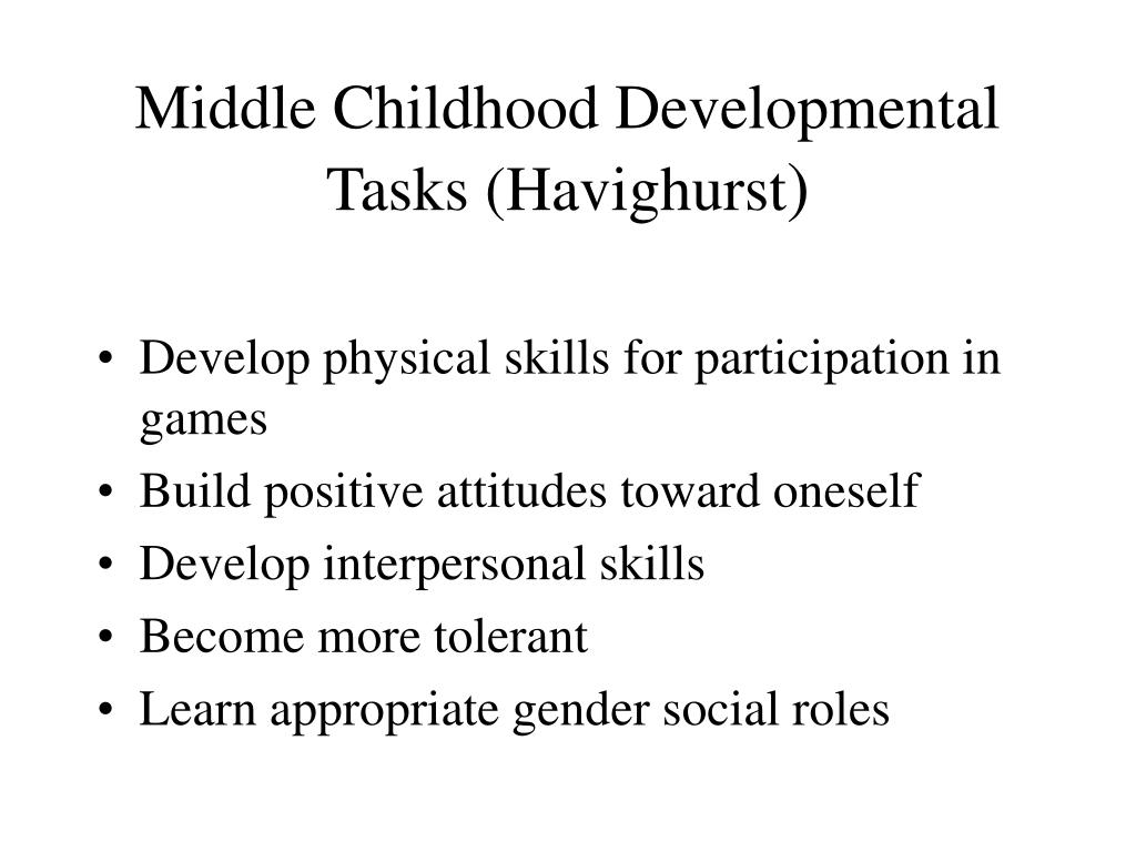 havighurst development task of older adulthood Middle adulthood (or midlife) refers to the period of the lifespan between young adulthood and old age this period lasts from 20 to 40 years depending on how these stages, ages, and tasks are culturally defined.