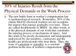 50 of injuries result from the physical demands or the work process