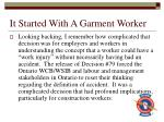 it started with a garment worker