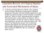 literature review of 6 typical injuries and associated mechanism of injury