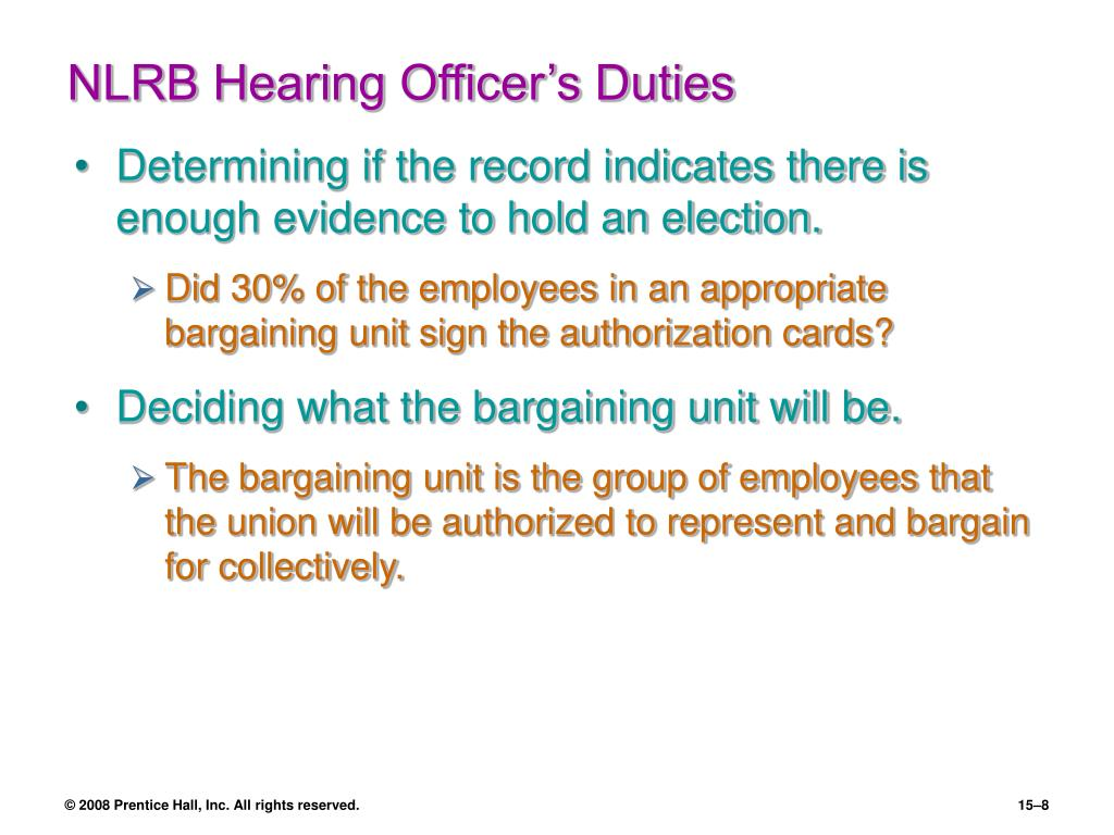 NLRB Hearing Officer's Duties