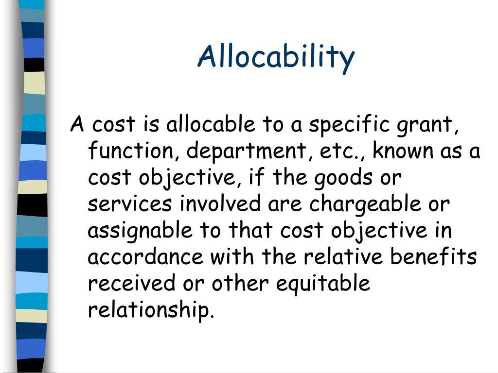 Allocability