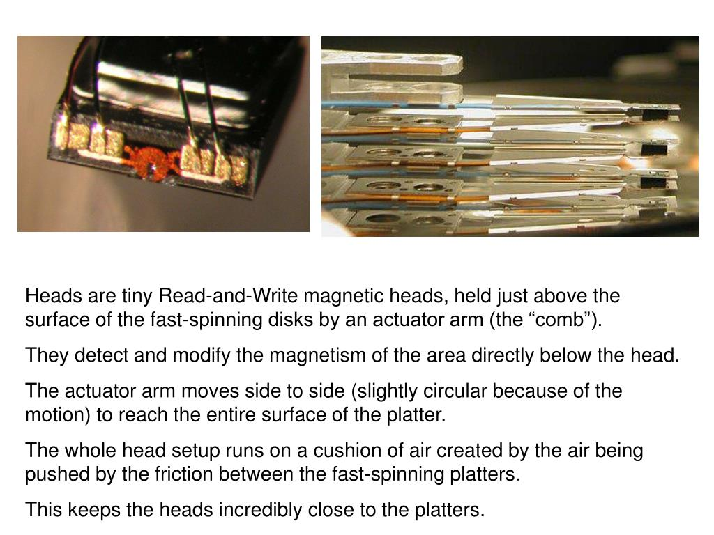 "Heads are tiny Read-and-Write magnetic heads, held just above the surface of the fast-spinning disks by an actuator arm (the ""comb"")."