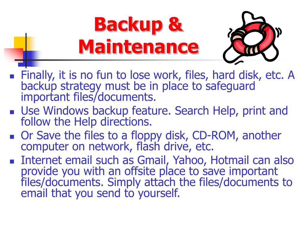 Backup & Maintenance