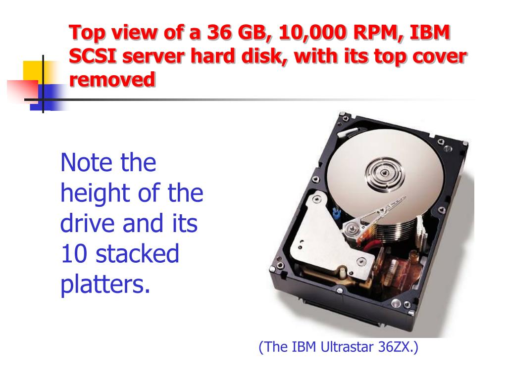 Top view of a 36 GB, 10,000 RPM, IBM SCSI server hard disk, with its top cover removed