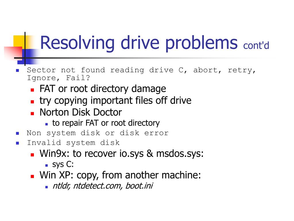 Resolving drive problems