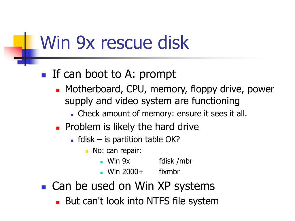 Win 9x rescue disk