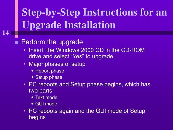 Step by step instructions for an upgrade installation2