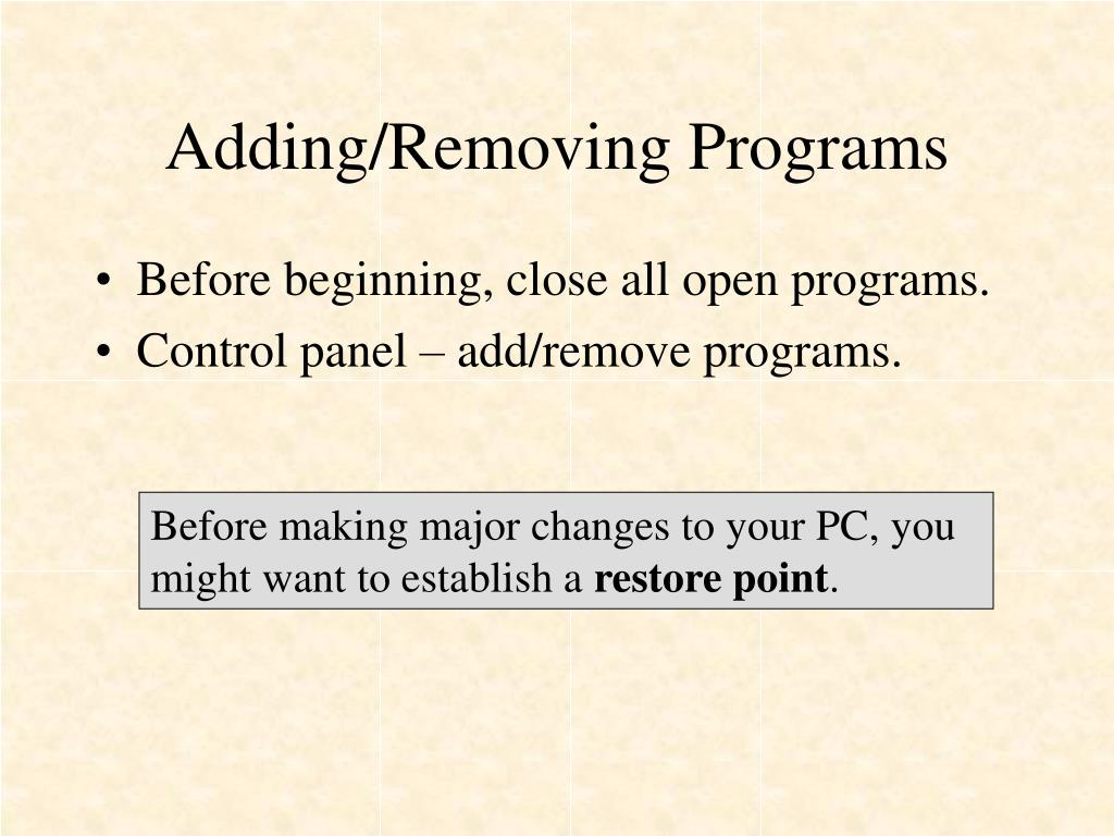 Adding/Removing Programs