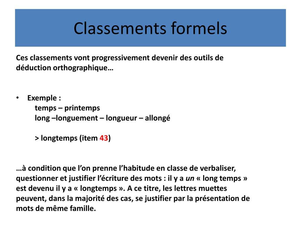 Classements formels