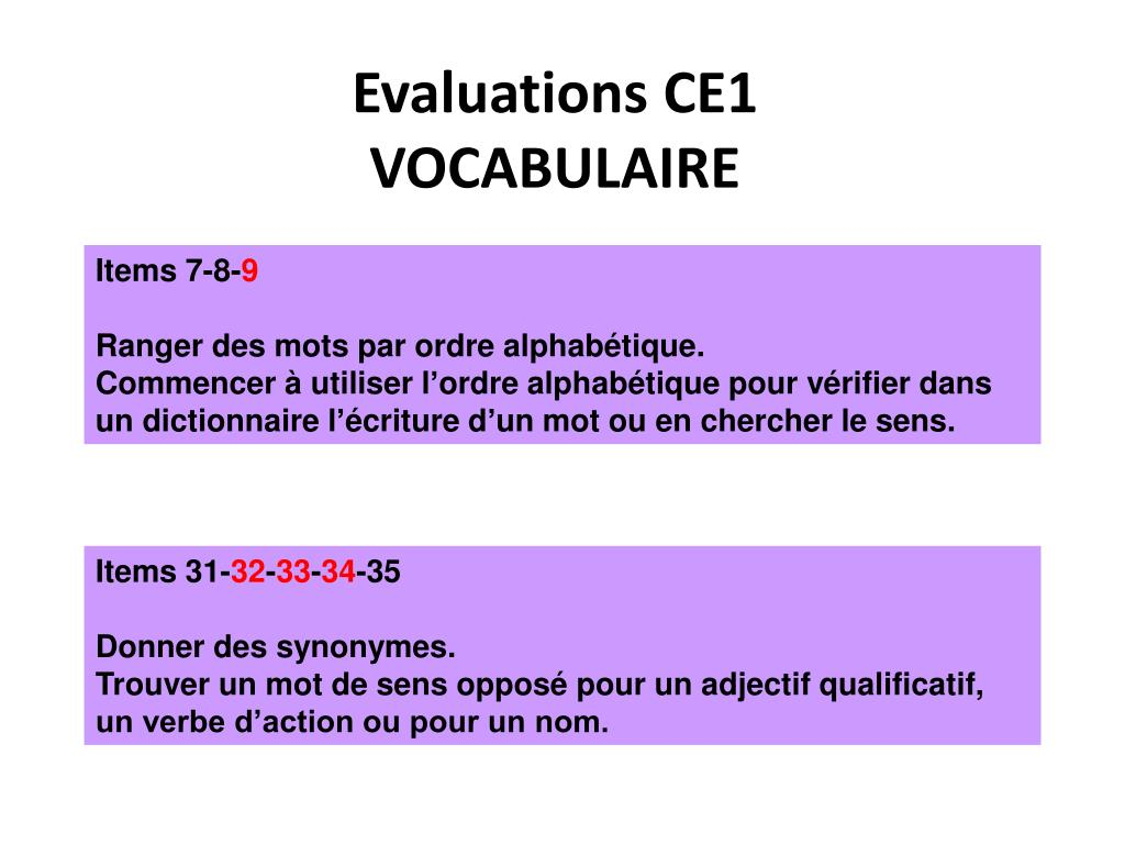 Evaluations CE1