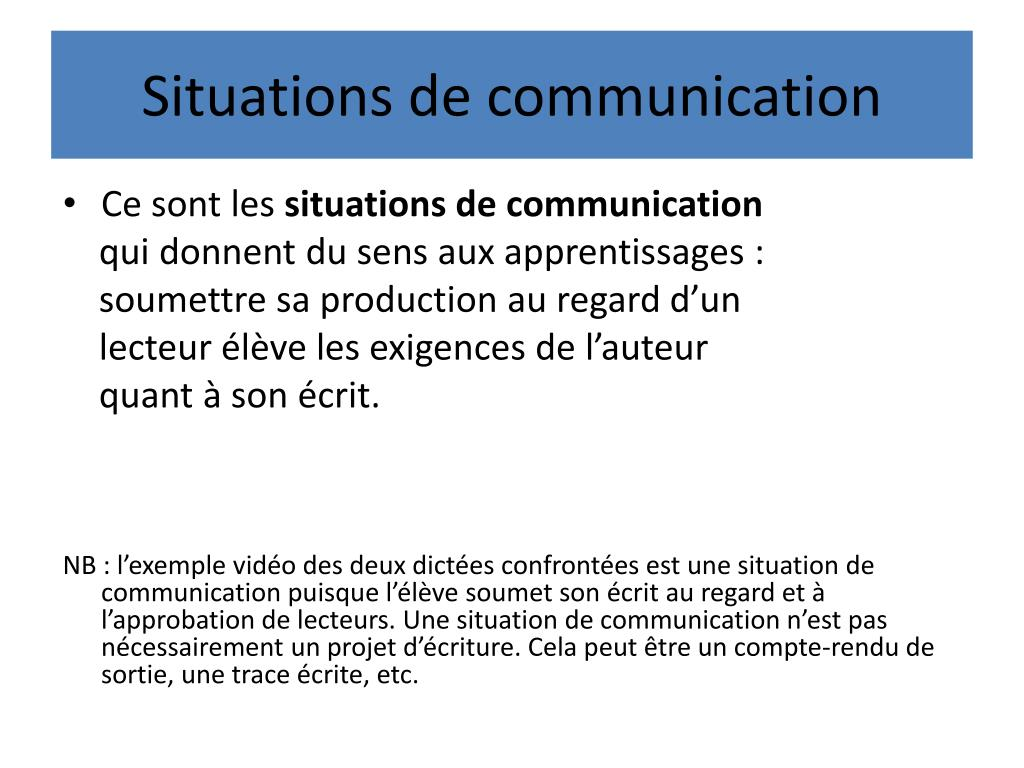 Situations de communication