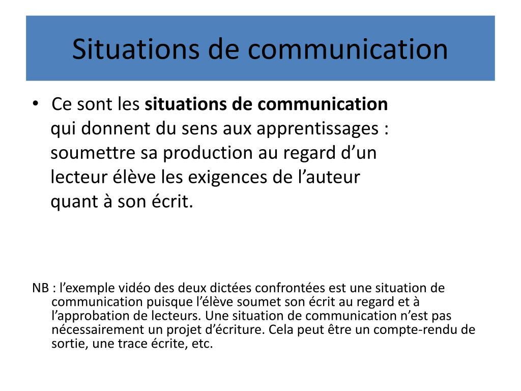 Situations de communication