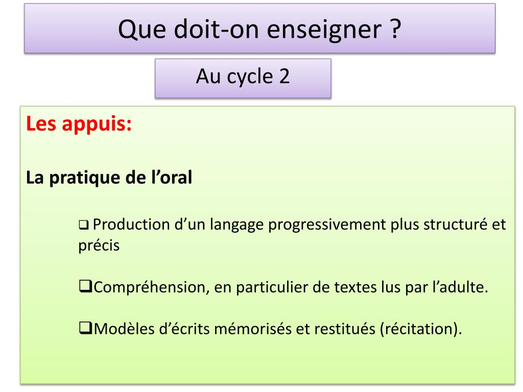 Que doit-on enseigner ?