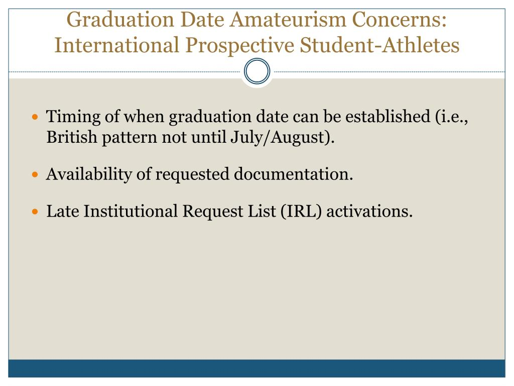 Graduation Date Amateurism Concerns: