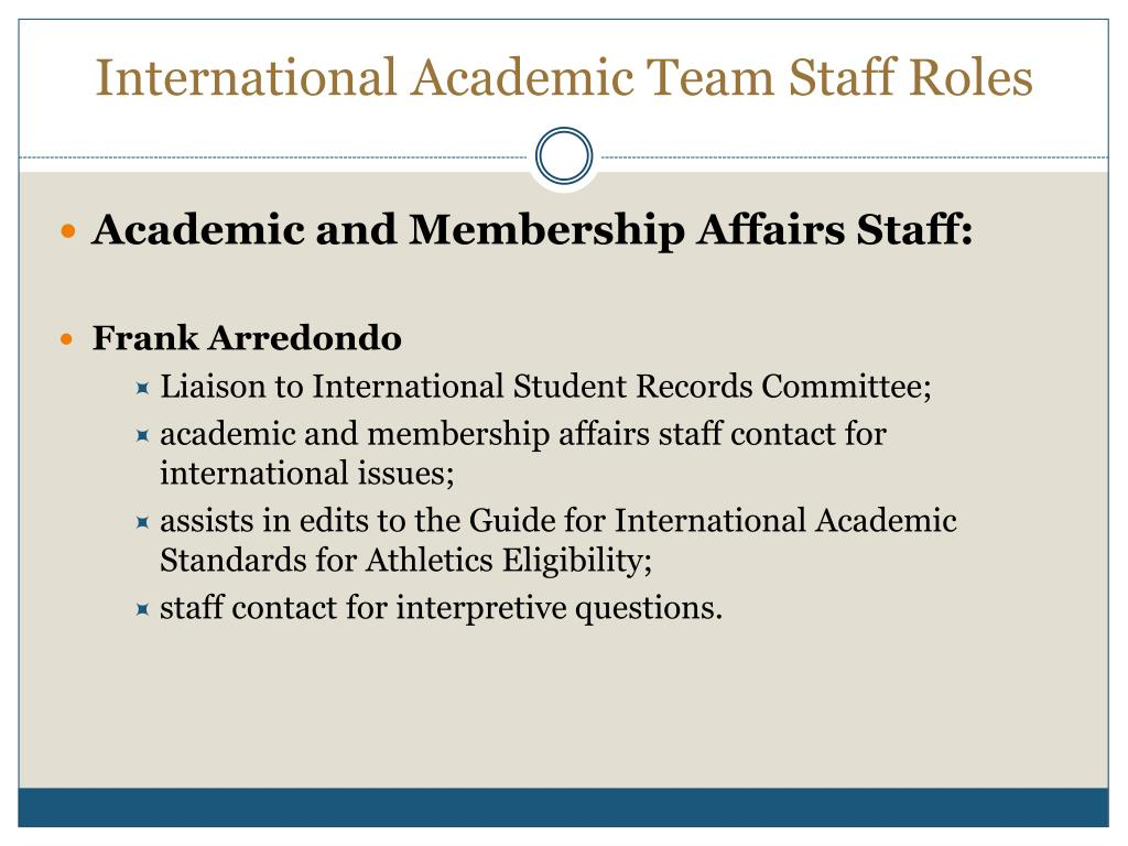 International Academic Team Staff Roles
