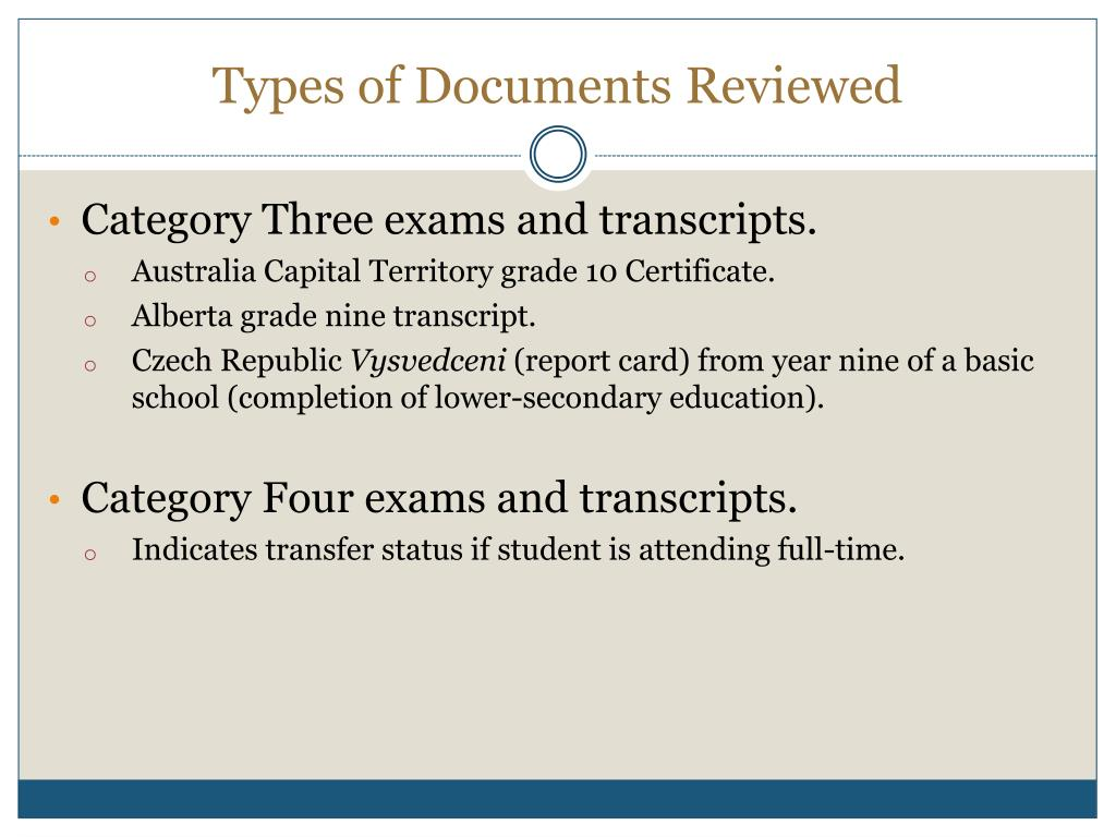 Types of Documents Reviewed
