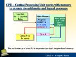 cpu central processing unit works with memory to execute the arithmetic and logical processes