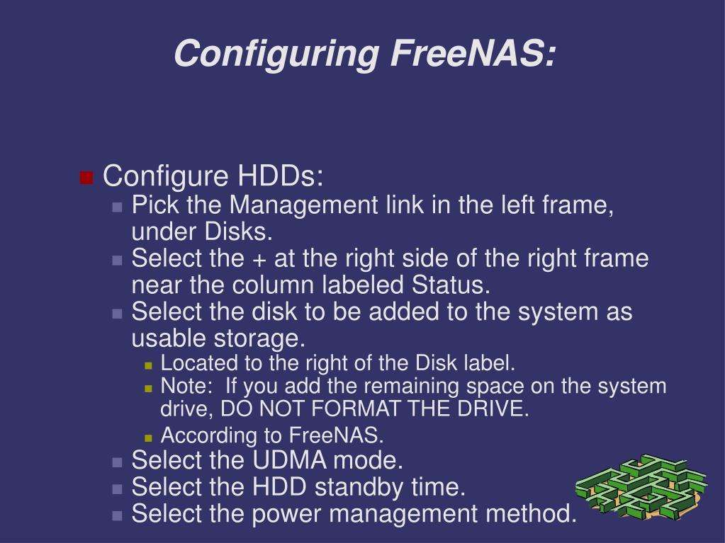 Configuring FreeNAS: