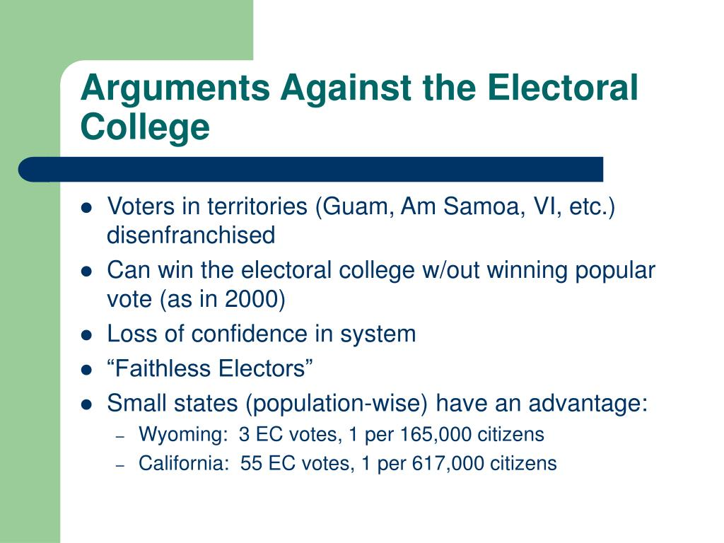 Arguments Against the Electoral College