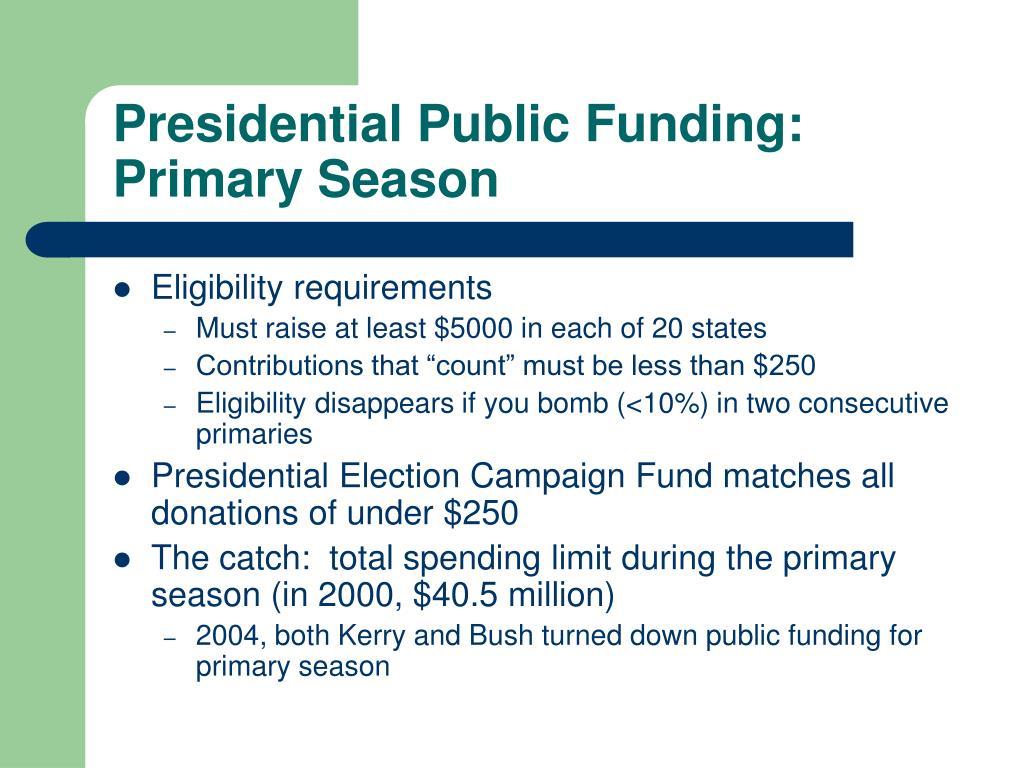 Presidential Public Funding: