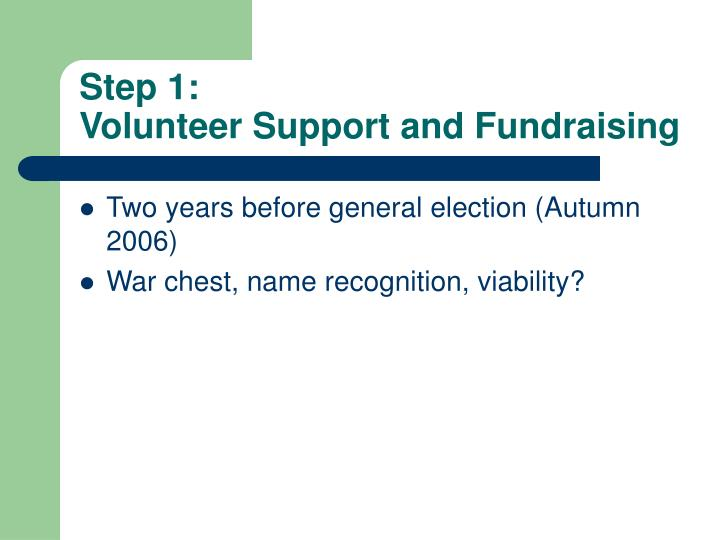 Step 1 volunteer support and fundraising