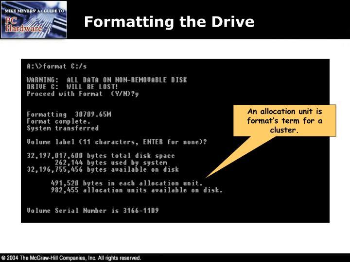 Formatting the Drive