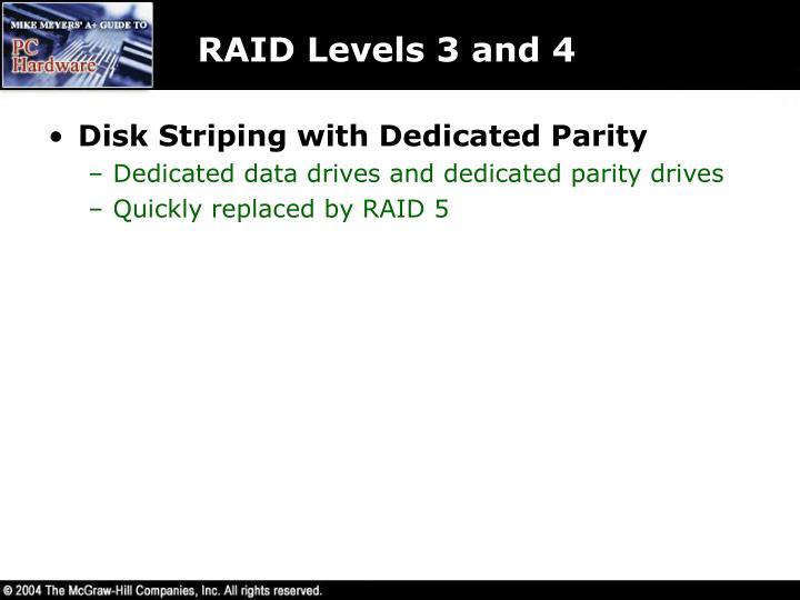 RAID Levels 3 and 4