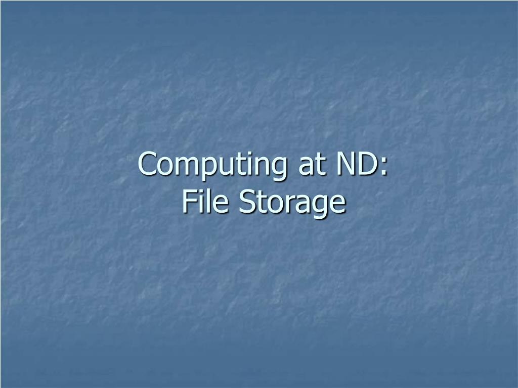 Computing at ND: