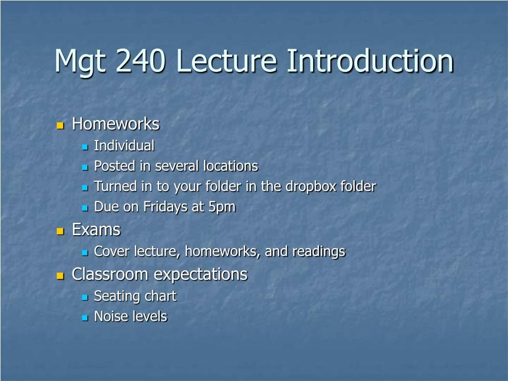Mgt 240 Lecture Introduction